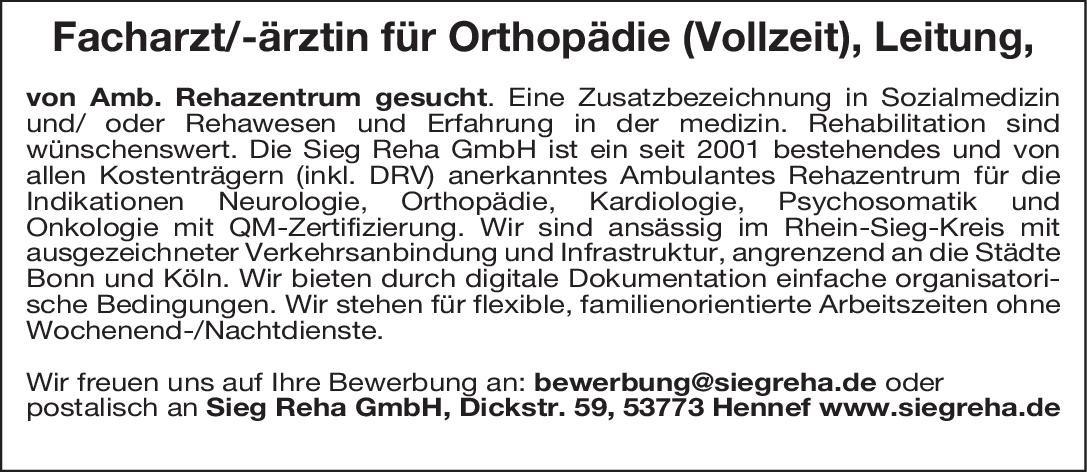 Sieg Reha GmbH Facharzt/-ärztin für Orthopädie (Vollzeit), Leitung  Orthopädie und Unfallchirurgie, Chirurgie Arzt/Facharzt