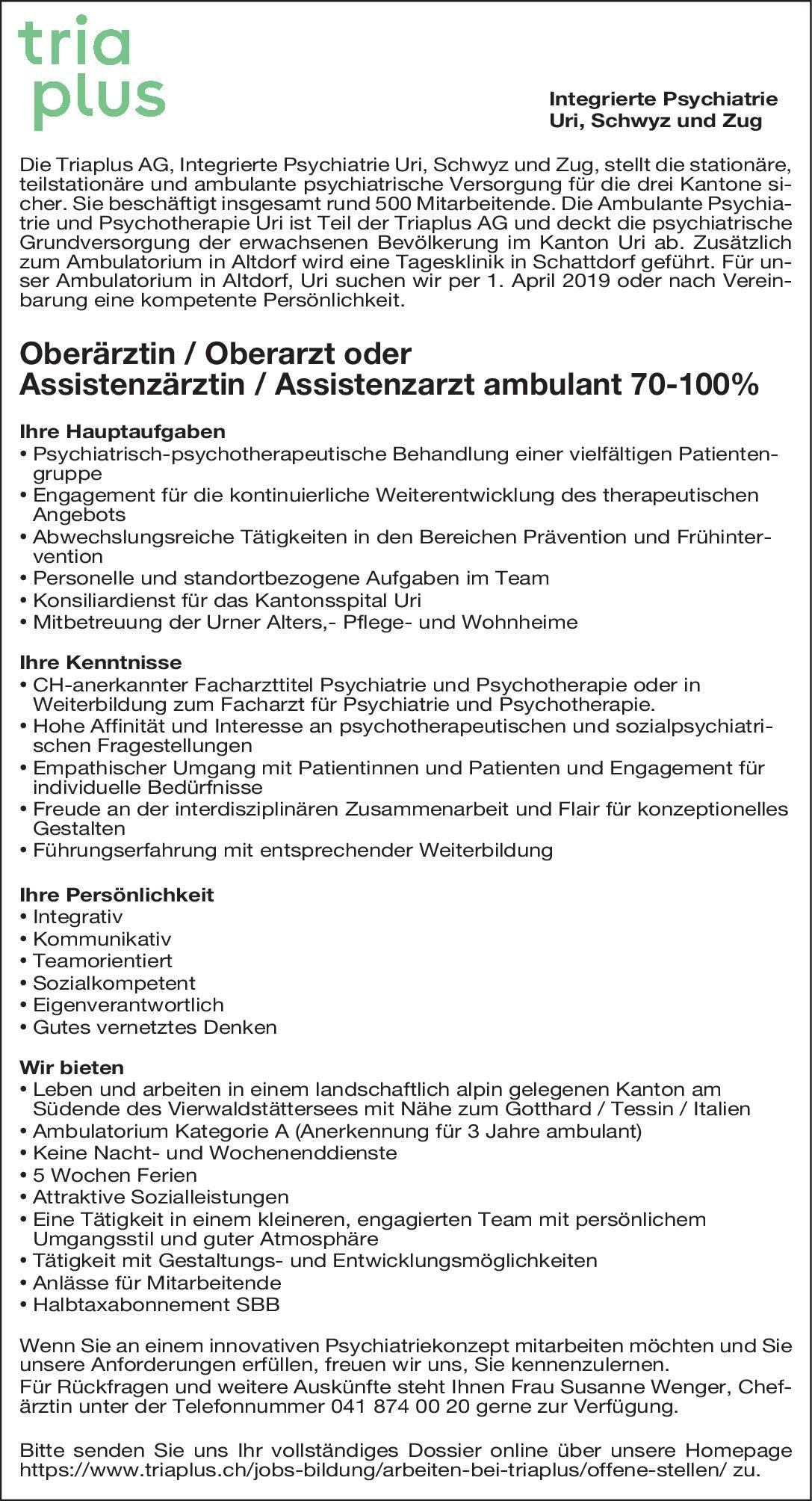 Stellenangebot Oberärztin Oberarzt Oder Assistenzärztin