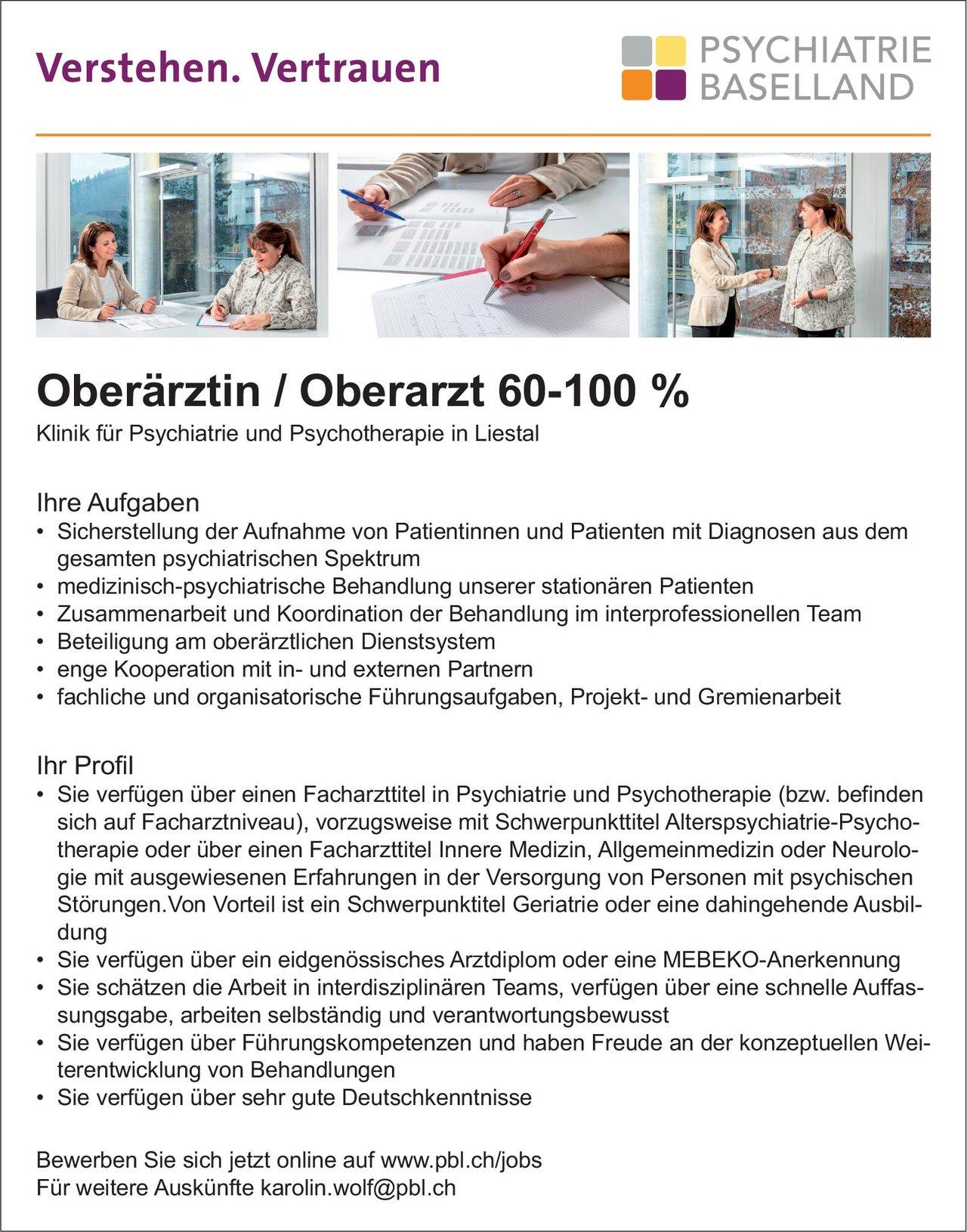Stellenangebot Oberärztin Oberarzt Für Psychiatrie Und Ps